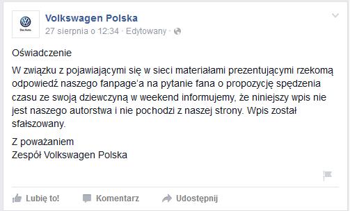 I oto odpowiedź na oficjalnym facebookowym koncie VW...